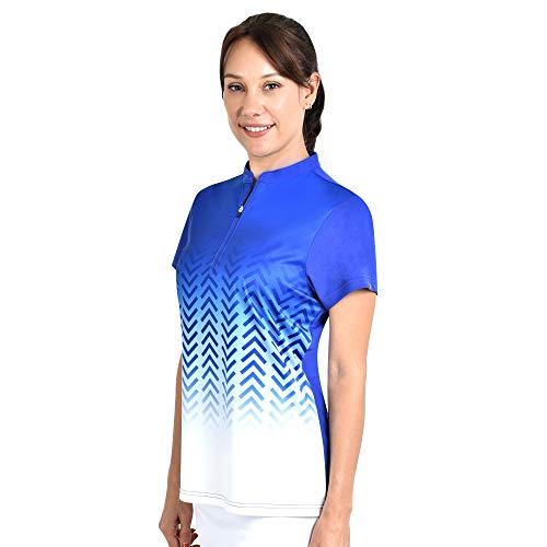 SAVALINO Women's Bowling Shirts, Professional Bowling Jerseys, Ladies Tops S-4XL Royal Blue