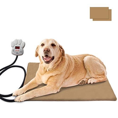 Osaloe Tappetino Riscaldante per Animali Domestici, 65 x 40 cm Tappeto Riscaldante Elettrico per Cani e Gatti Cuccia Letto Grande Rimovibile con 7 Livelli di Temperatura (Cachi)