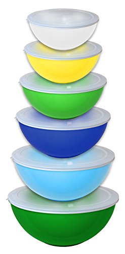 Gourmet Home Products 12 Piece Nested Polypropylene Mixing Bowl Food Storage Set with Lids, Green