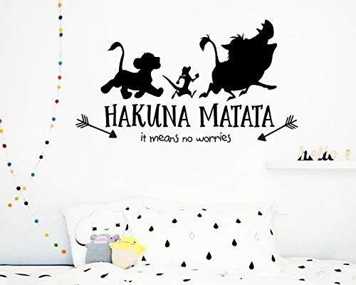 Pegatinas de vinilo de personaje de película de dibujos animados Hakuna Matata Lion King Tatuajes de pared para habitaciones de niños Calcomanías de cita Decoración de dormitorio Mural