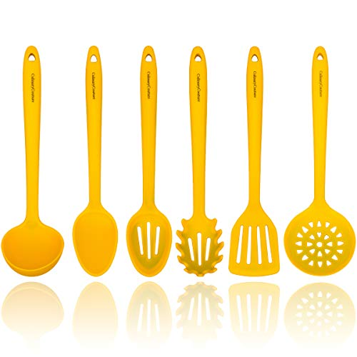 Yellow Silicone Cooking Utensils Set – Sturdy Steel Inner Core – Spatula, Mixing & Slotted Spoon, Ladle, Pasta Server, Drainer – Heat Resistant Kitchen Tools - Bonus Recipe Ebook
