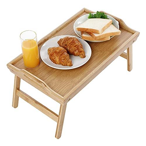 Feibrand Bandeja para Cama Platos de Mesa Multiusos Bandeja de Madera de Bambú para Servir el Desayuno con Patas Plegables