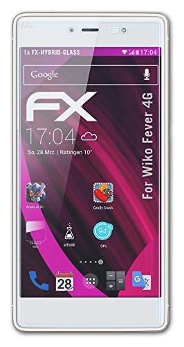 atFolix Glasfolie kompatibel mit Wiko Fever 4G Panzerfolie, 9H Hybrid-Glass FX Schutzpanzer Folie
