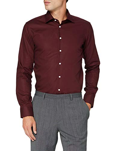 Seidensticker Herren Business Bügelfreies Hemd mit sehr schmalem Schnitt - X-Slim Fit, Bordeaux (49), 39