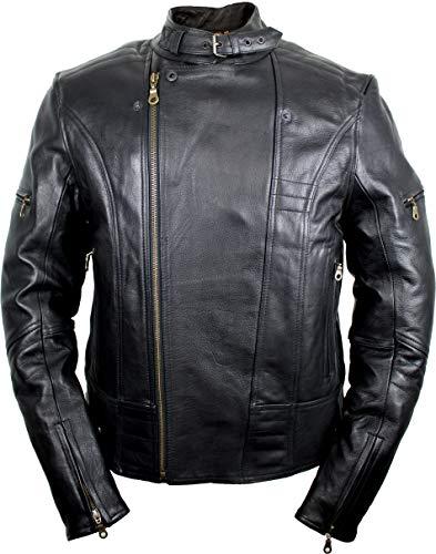 Motorrad Lederjacke, Biker Herren Lederjacke (3XL) - 2