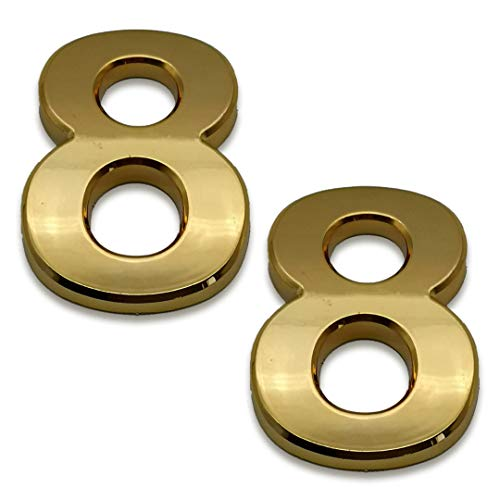 2 Pcs 4 Inch House Numbers 8, Self-Stick Gold Address Sign Number Stickers for (Mailbox Post, Apartment Door, Outside, Yard), 2020 Upgraded Style, by Sureyear. (4 Inch - NO.8, Gold)