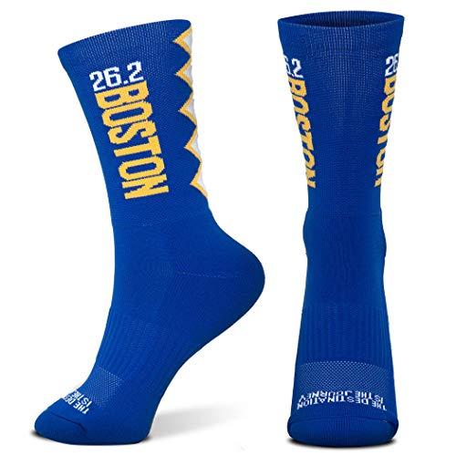 Inspirational Athletic Running Socks | Mid-Calf | Boston 26.2 Marathon | Blue