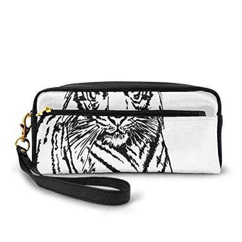 Pencil Case Pen Bag Pouch Stationary,Sketch of A Posing Tiger Sharp Eyes Largest Cat Species Dark Vertical Stripes Art,Small Makeup Bag Coin Purse