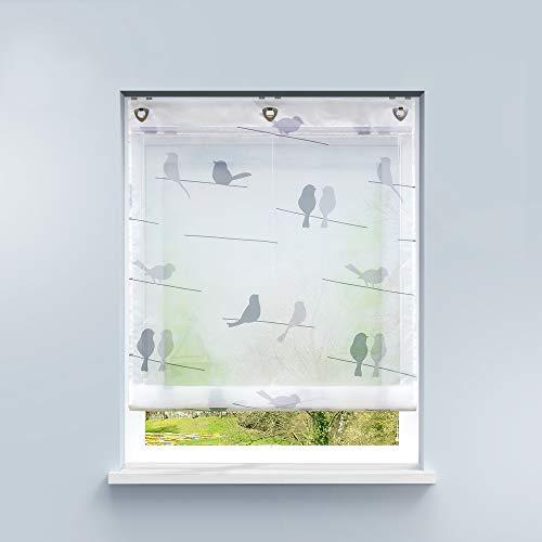 HongYa – Estor sin agujeros, gasa con ojales, transparente, cortina con gancho para colgar en la cocina, cortina para ventanas pequeñas, poliéster, Diseño de pájaro., H/B: 140/100 cm