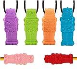 DUDUCHUN (Paquete de 6) Sensorial Chew Collar y Chewy Lápiz Toppers Combinado para Niños Niñas, para el Autismo, la dentición, TDAH, morder, Motor Oral