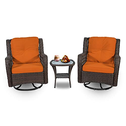 N\A Wicker Patio Furniture Swivel Chairs Set of 3, Rattan Porch Rocker with Table Comfortable Cotton Cushions for Outdoor Garden Bistro (Orange)