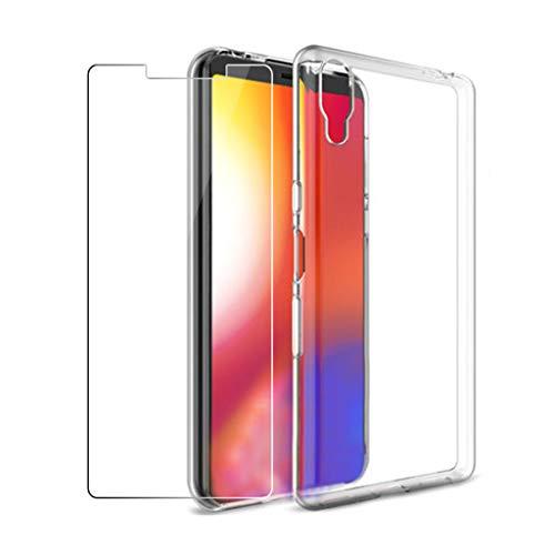 LJSM Hülle für Sony Xperia L3 + [2 Stück] Panzerglas Bildschirmschutzfolie Schutzfolie - Transparent Weich Silikon Schutzhülle Crystal Flexibel TPU Tasche Hülle für Sony Xperia L3 (5.7