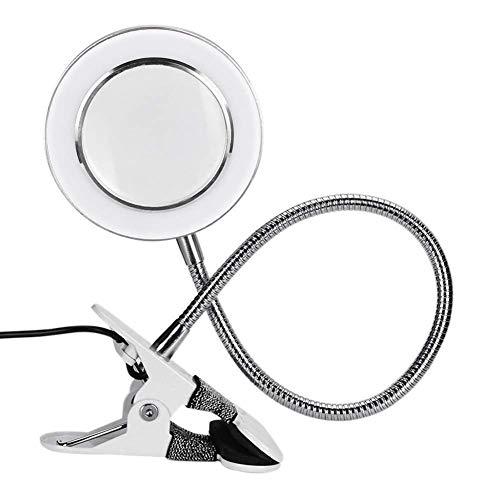 8X Lupenleuchte, Clip-On Leuchtlupe mit Cold White Lights, USB-Desktop-Kosmetik-Lampe Loupe mit flexiblem Schlauch und Klemme for Schönheit, Tätowierung, Lesen, Reparieren, Inspektion TYTTUU
