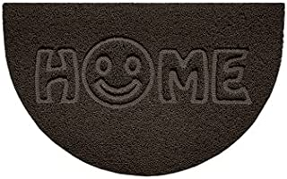 Nicoman Embossed Halfmoon Half Circle Door Mat Dirt-Trapper Jet-Washable Doormat 70x44cm (Brown, Home Smiley FACE Shape) -...