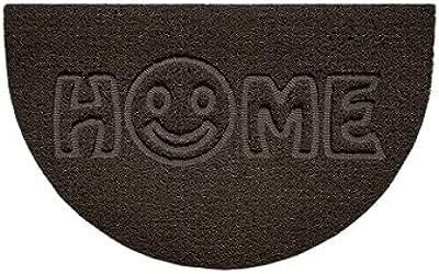 Nicoman Embossed Halfmoon Half Circle Door Mat Dirt-Trapper Jet-Washable Doormat 70x44cm (Brown, Home Smiley FACE Shape) - Use Indoor or Sheltered Outdoor