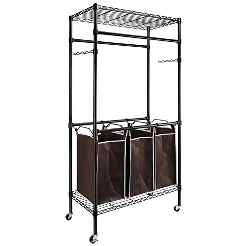 LeafRed C Heavy-Duty Sorting Hamper Commercial Grade Clothes Rack Shelves, Space Saver for Home, Office