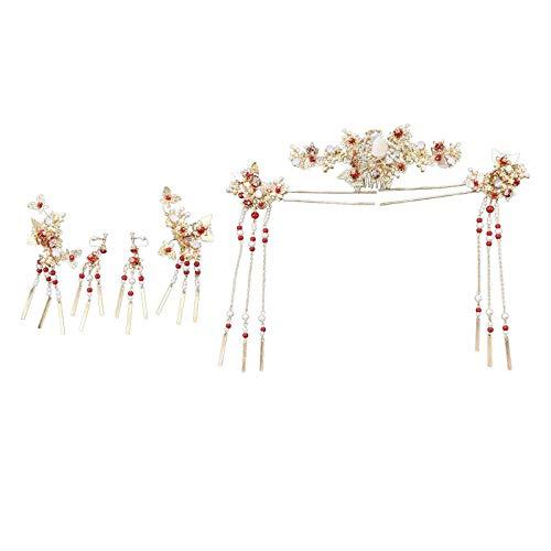 F Fityle Hecho a mano tradicional chino oro horquilla cabeza joyería, decoración nupcial Corolla