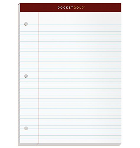 "TOPS Docket Gold Writing Pads, 8-1/2"" x 11-3/4"", Narrow Rule, 3-Hole Punched, White Paper, 100 Sheets, 2 Pack (99706)"
