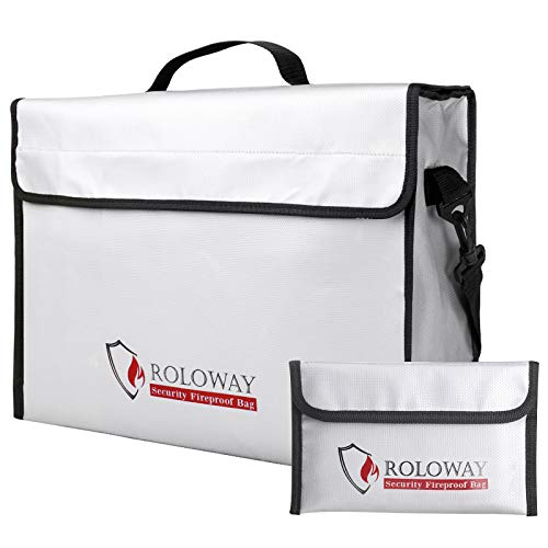 ROLOWAY Fireproof Document & Money Bags, Large Fireproof & Water Resistant Bag (15 x 12 x 5 inches), Fireproof Folder Safe Bag for Cash, Valuables & Passport, with Silicone Coating & Zipper Closure