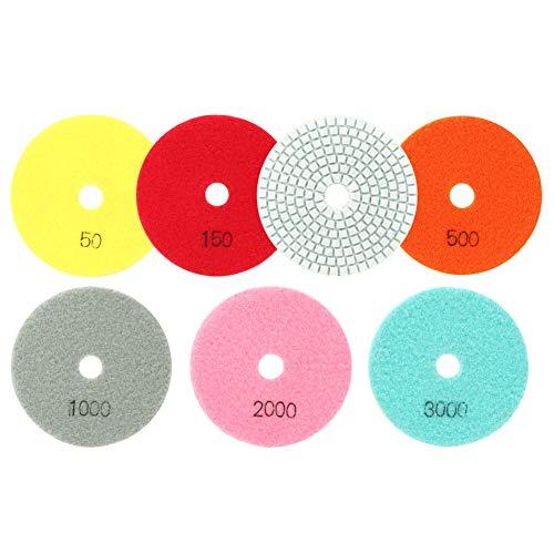 Almohadilla de pulido de resina de mármol de 7 piezas, disco de pulido suave para piedra, cerámica, vidrio, 100 mm de diámetro, almohadillas de pulido para reparación de carrocería