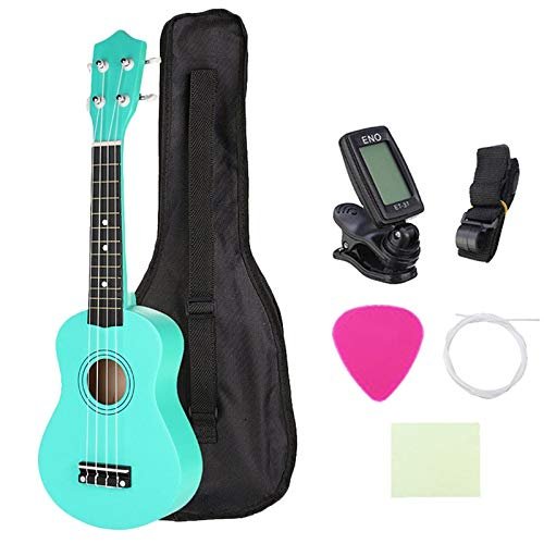 SUNXK Ukelele Soprano de 21 Pulgadas for niños Mini Guitarra acústica Verde + Bolsa de Concierto (Color : Green, Size : 21 Inches)