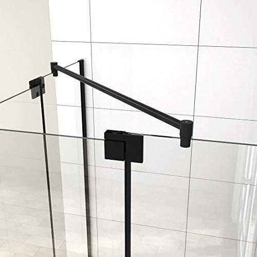 Heilmetz Haltestange Stabilisierungsstange für Duschwände Stabilisator für Glas-Glas 6-10 mm Dusche Duschwand Edelstahl 100cm Rund Haltestange (2 Pack)