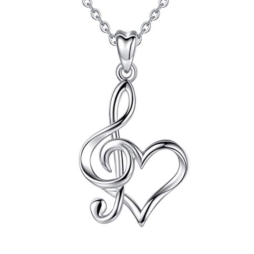 CELESTIA Collar Nota Musical de Plata de ley 925, Corazón y Clave de Sol Colgante, Joyas Regalo para Músicas Profesora Conservatorio Estudiantes de Musica Graduación