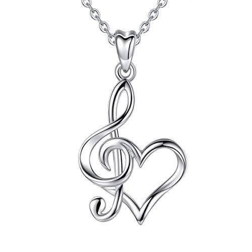 CELESTIA 925 Silber Musiknote Herz Halsketten für Damen Mädchen, Violinschlüssel Anhänger mit Kette 46CM, Sterling Silber Schmuck, Geschenke für Musiklehrer Musiker Musikliebhaber