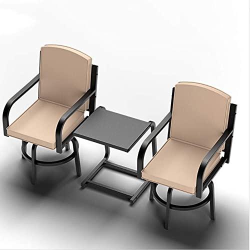 CCLLA Conjunto de Muebles de terraza de 3 Piezas con Taburete de Bar para Exterior, Mesa y Silla, Equipado con 2 sillas giratorias para Exterior y una Mesa de Metal.Taberna de 3 Piezas Resistente