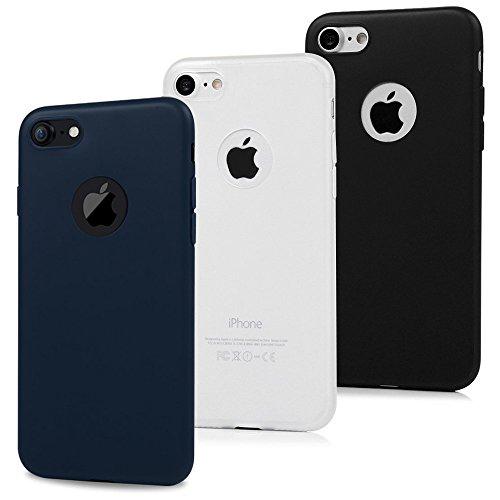MAXFE.CO 3X Cover iPhone 7 Silicone, Custodia iPhone 7 Morbido TPU Flessibile Gomma Opaco Case Antiscivolo Satinato, Ultra Sottile Cassa Protettiva per iPhone 7 (4.7') - Nero, Blu Scuro, Bianco