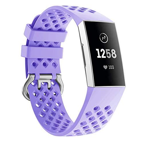 Wekin, cinturino di ricambio compatibile con Fitbit Charge 3/3 SE fitness tracker, fori traspiranti in silicone, accessori piccoli e grandi per uomo e donna, Lavanda