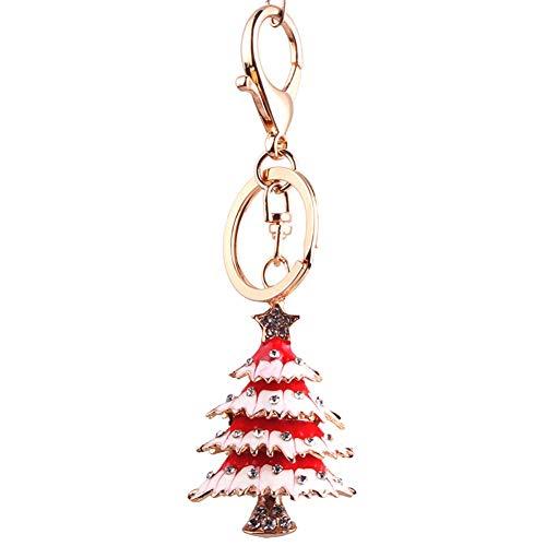 Demarkt Keychain sleutelhanger tashanger kerstboom metaal hanger auto sleutels rood