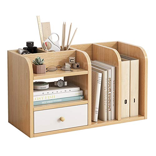 QIAOLI Estantería de escritorio de madera con cajón organizador de escritorio de oficina, estante de almacenamiento de escritorio, organizador de escritorio montado estantería escalera estante