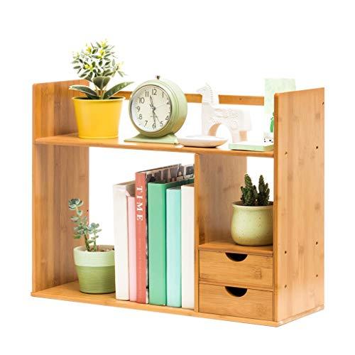 Bibliothèques Petite table simple étagères bibliothèque étudiant mini bambou étagère de rangement de bureau (Color : Brown, Size : 58x19x47cm)