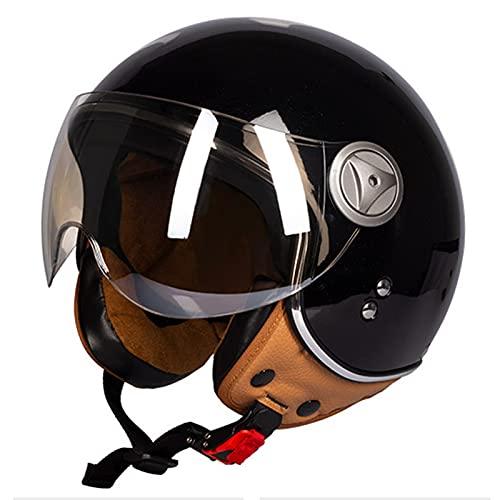 Casco eléctrico de motocicleta con gafas, aprobado por DOT/ECE para cuatro estaciones ligero, estilo vintage, de cara abierta, para hombres y mujeres, protector solar de verano, casco retro