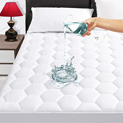 """Queen Quilted Waterproof Mattress Pad Cover,Soft Breathable Mattress Pad Cover, Waterproof Mattress Protector Stretches up to 21"""" Deep Pocket-Hollow Alternative Filling-Cooling Mattress Topper"""