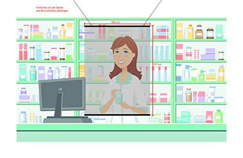 Trennwand/Hustenschutz/Niesschutz/Hygieneschutz hängend, zur Deckenmontage, 100 x 137 cm
