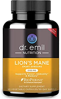 Dr Emil Nutrition Organic Lions Mane Mushroom Capsule with Absorption Enhancers Powerful Nootropic Brain Supplement and Immune Support with 100% Organic Lions Mane Extract 30 Day Supply …