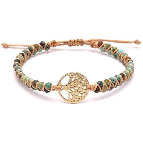 BENAVA Damen Yoga Armband Schmuck mit Lebensbaum Anhänger aus Jaspis Edelstein Perlen Grün Bunt Gold | Meditation Boho Damenarmband