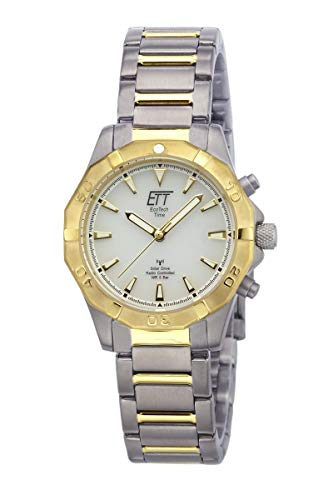 ETT Eco Tech Time Funk Solar Damen Uhr Analog mit Titan Armband ELT-11360-15M