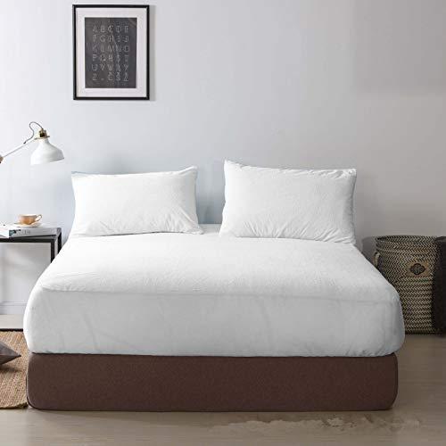 haiba Sábana bajera ajustable de algodón puro de calidad premium, 180 x 200 + 30 cm