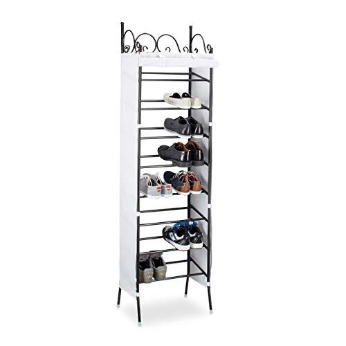 Relaxdays Zapatero Metálico COUNTRY, 20 Pares Zapatos, 8 Estantes, Metal-Poliéster, 174 x 48 x 29 cm, Negro-Blanco
