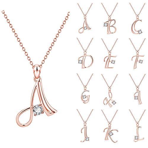 Collar con colgante de letra A-Z, para mujeres y niñas, con letra del alfabeto 26 iniciales, con colgante de cadena, regalo para amante, esposa, amiga, madre