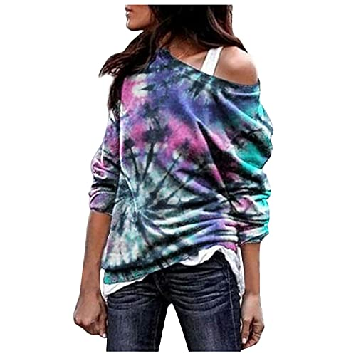 HHoo88 Pullovers for Womens Casual Tie-Dyed Print Long Sleeve Cold Shoulder Abstract Print T-Shirt Crewneck Sweatshirt Blouse Purple