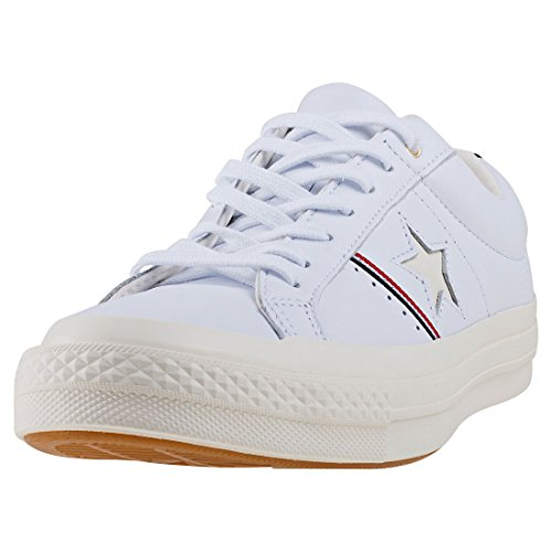 Converse Unisex Cons One Star Piping OX Fitnessschuhe, Weiß (White/Enamel Red/Egret 102), 37 EU