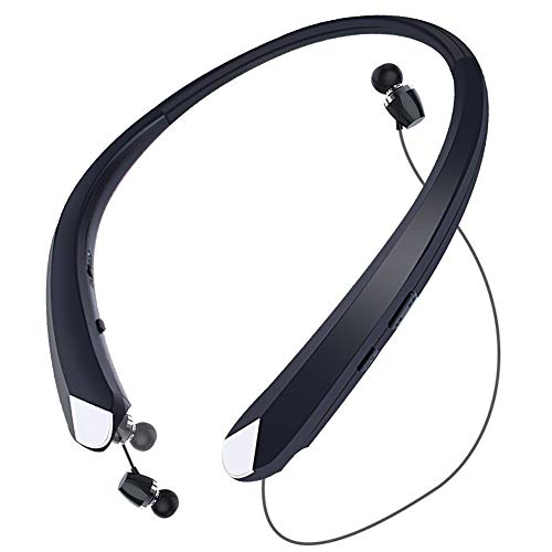 HaoHiyo Bluetooth Headphones Retractable Earbuds Wireless Headset Neckband Sports Noise Cancelling Stereo Earphones with Mic (12 Hrs Playtime, 2020 Upgrade, Black)