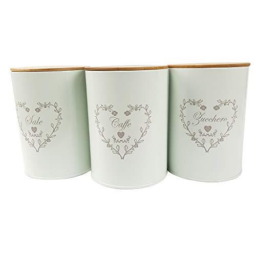 BuyStar Set di 3 barattoli Porta Sale Zucchero caffè in Latta con Coperchio Legno, Tris barattoli da Cucina Cuore, Design Shabby Chic