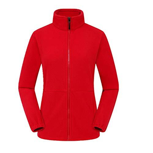 Chaqueta térmica de forro polar para mujer, para senderismo, cortavientos, para hombre - rojo - Large