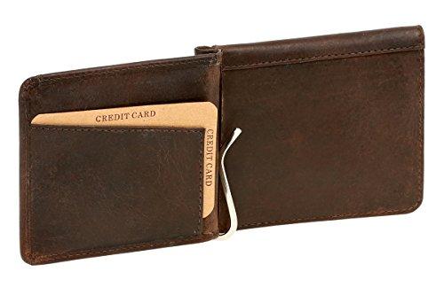 LEAS LEAS Dollar- & Money Clip Geldscheinklammer m. Münzfach im Vintage-Style Echt-Leder, braun Vintage-Collection