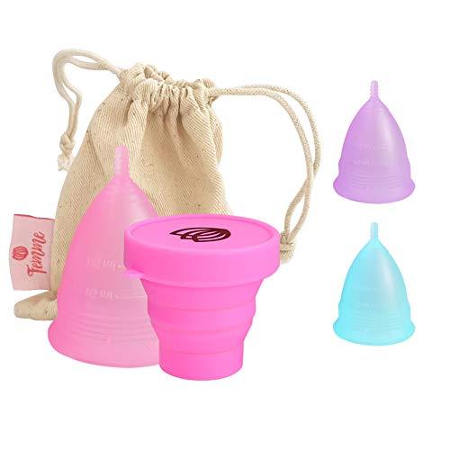 Femme Essentials Copa Menstrual + Caja de Almacenamiento Esterilizadora + Bolsa de Algodón | 100% de Silicona Hipoalergénica | Ecológica, Segura, Cómoda y Higiénica | Tamaño: Pequeño |Color: Rosa